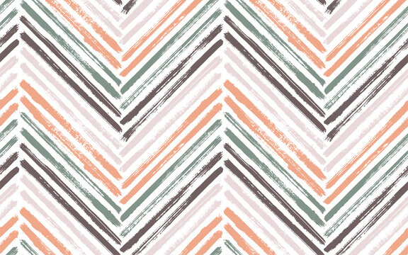 Brush stroke chevron zig zag seamless pattern.