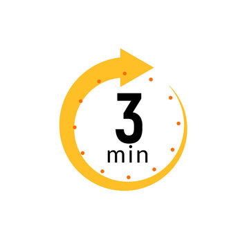 3 minutes clock quick number icon. 3min time circle icon