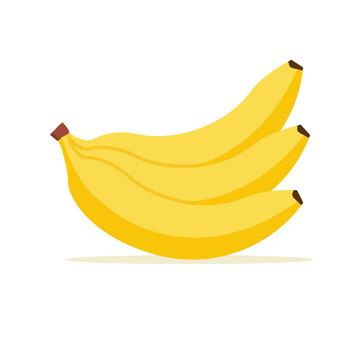 Banana vector cartoon isolated icon. Flat banana logo clipart object fruit bunch