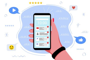 Many notifications in the mobile phone Online distractions chaos messages Notifications Digital technology and communication vector illustration concept