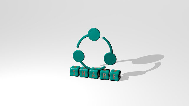 3D illustration of SHARE graphics and text made by metallic dice letters for the related meanings of the concept and presentations. business and icon