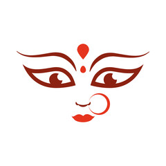 goddess durga face in happy navratri flat style icon