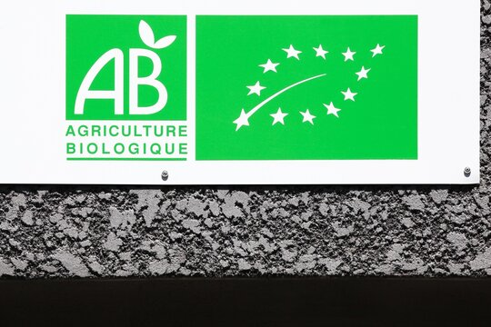 Anse, France - July 4, 2020: Organic farming label called agriculture biologique in French, France