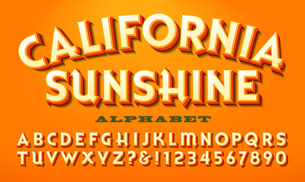 A Bright Warm-Colored Alphabet, California Sunshine is a Font Similar to What Might Be Used on a Vintage Fruit Crate