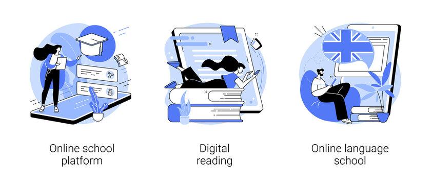 Online education abstract concept vector illustration set. Online school platform, digital reading, language school, homeschooling, education platform, recorded video classes abstract metaphor.