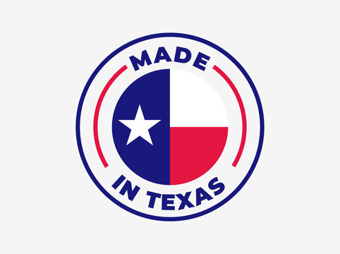 """Made in Texas"" vector icon. Illustration with transparency, which can be filled with white, or used against any background. State flag encircled with text and lines."