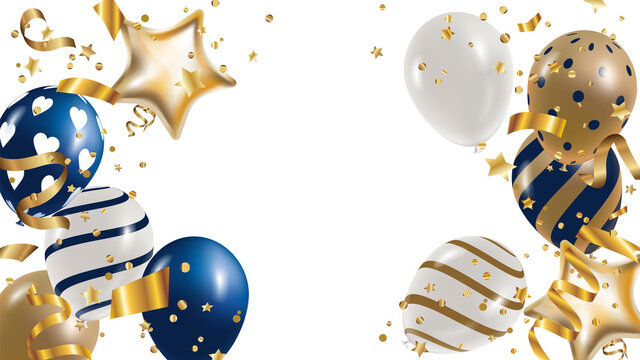Luxury Gold foil balloons with confetti and Festive ribbon in white background.  3d realistic vector illustration for anniversary, birthday, sale and promotion,  party design element.
