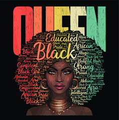 African American Queen Vintage Educated Strong Black Woman new design vector illustrator