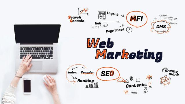 パソコンを操作する手とウェブマーケティング戦略 図解