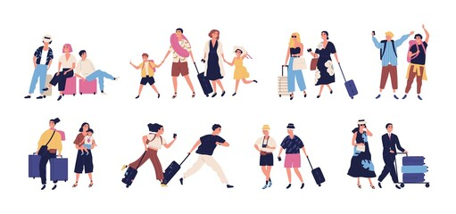 Set of scenes with tourists, people going on summer vacation, journey, trip. Young, elderly couple, families, kids with baggage, luggage at airport. Flat cartoon vector illustration isolated on white