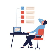 Concept of missing deadline, bad time management. Scene of tired, nervous, stressed man clutches head at work, to do list with red ticks. Flat vector cartoon illustration isolated on white background