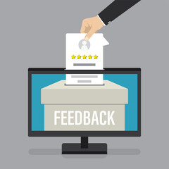Online positive review. Feedback box on monitor screen. Electronic customer rating. Hand holding testimonial form.