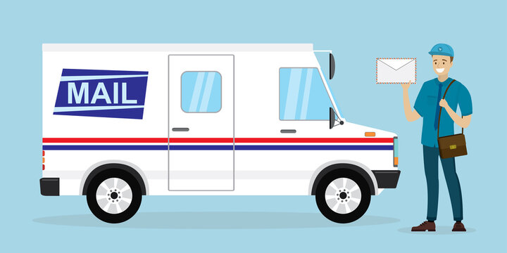 Mail delivery truck. Happy postman in uniform. Caucasian mailman hold letter. Courier with mailbag, delivery and post service. White postal van.