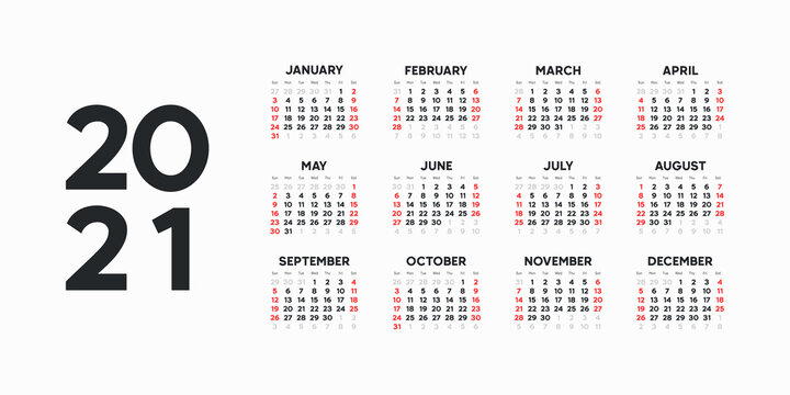 Landscape Calendar template. 2021 yearly calendar. 12 months yearly calendar set in 2021. Week starts from Sunday.