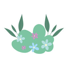 bush flowers leaves foliage decoration cartoon isolated icon design