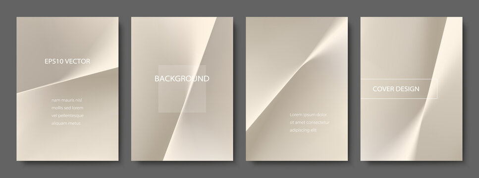 Set of Abstract Champagne Gold Backgrounds. Minimal Cover Design Templates with Copy Space. EPS 10 Vector.