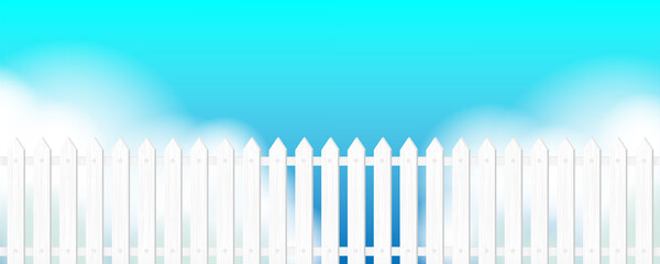 Summer panoramic landscape. Vector horizontal background with sky, clouds, white fence.