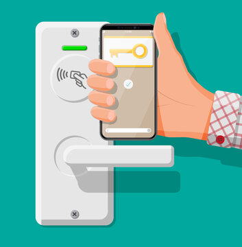 Fingerprint security device at office or home door. Hand with smartphone with id card application. Access control machine, time attendance. Proximity card reader. Flat vector illustration