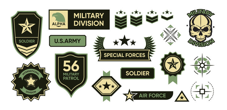 Army patches set. Military insignias, soldier camouflage badges, USA force emblems. Isolated vector illustrations with text, shield, stars, wings, targets