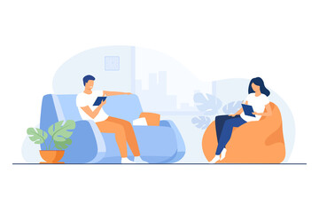 Photo sur Toile Les Textures Young couple reading books in living room isolated flat vector illustration. Cartoon happy woman and man resting on sofa and armchair. Home, holiday and relaxation concept