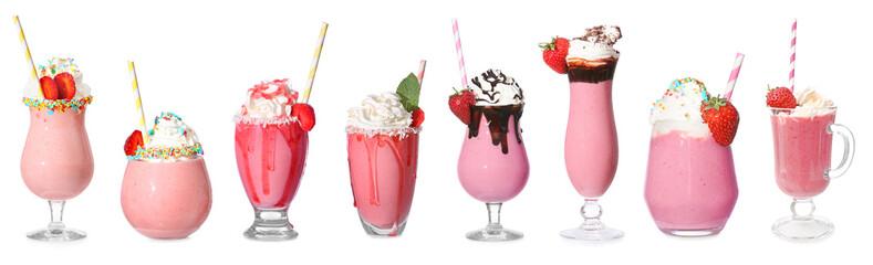 Tasty strawberry milkshake on white background