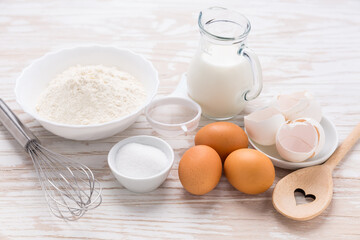 Assortment of basic baking ingredients for cake, muffins or pancakes