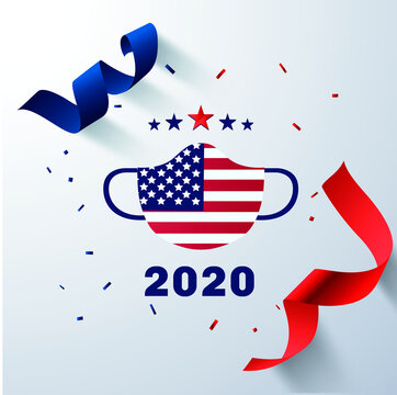 presidential election 2020 usa with usa mask in vector