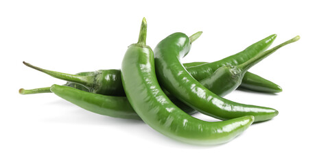 Fotobehang Hot chili peppers Green hot chili peppers on white background