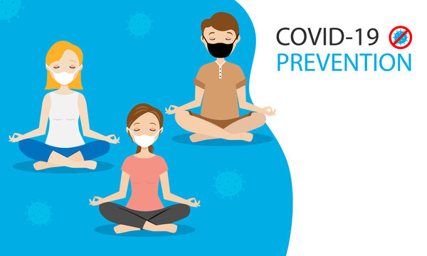 Group of person doing yoga with face mask on. Covid-19 prevention. Mask mandatory use.