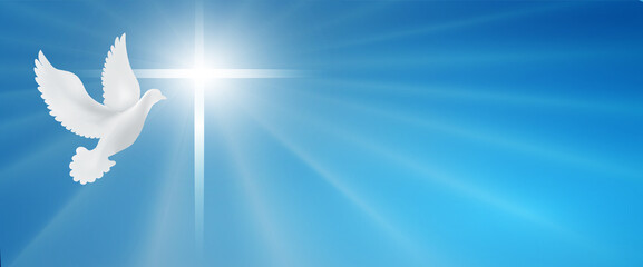 Dove whit christian cross symbol. Crucifix. Easter. Sign of purity. Faith. Baptism. Holy Spirit. Evangelization. Resurrection. Banner. Blue background with bright rays