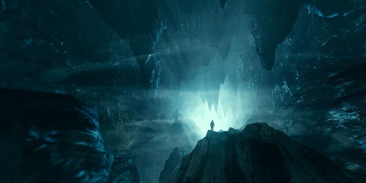 man exploring dark fantasy cave 3d illustration