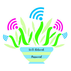 Sign wifi in the form of a plant in a pot. For a poster in a guest room, shop, hotel, relaxation area
