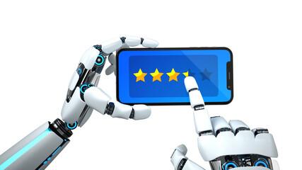 Foto op Canvas Hoogte schaal Humanoid Robot Hand Smartphone Rating