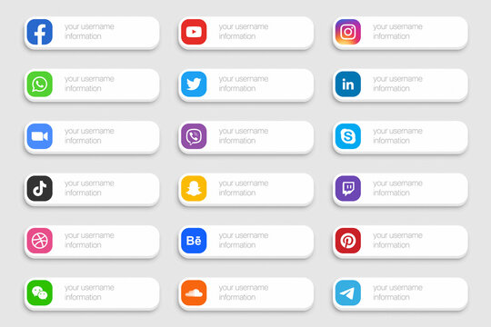 Popular Social Media Network Lower Third Icons 3D Banner Vector Set Isolated On Light Background. Design Elements For Digital Business And Networking. Facebook, YouTube, Instagram, Twitter, LinkedIn