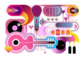 Abstract musical composition, vector illustration. Gradient effect design of different musical instruments isolated on a white background.