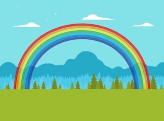 Photo sur Plexiglas Turquoise Flat vector nature landscape with rainbow