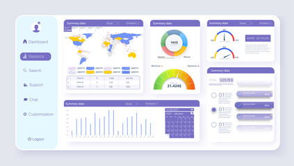 Admin Dashboard UI, UX elements kit. Modern presentation with data graphs and diagrams. Finance report, statistics analysis. Chart isolated vector icon, bar and dashboard template. Vector illustration