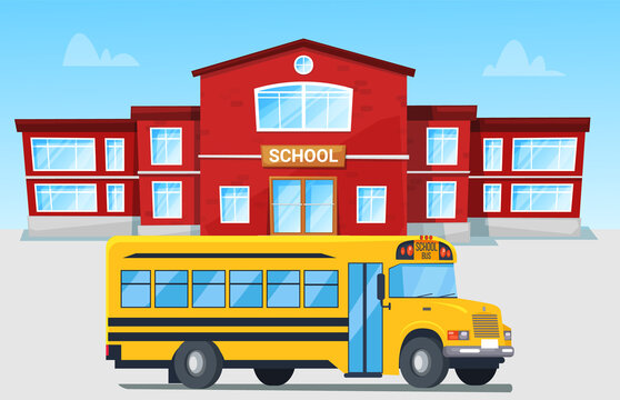 Modern bright yellow bus in front of red brick school building. Educational institution, car, vehicle, automobile driving on city road vector illustration. Back to school concept. Flat cartoon