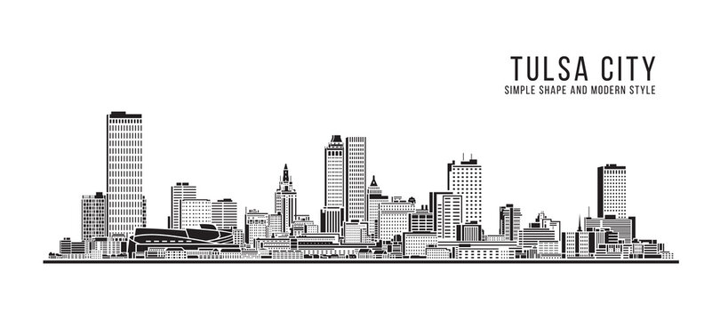 Cityscape Building Abstract Simple shape and modern style art Vector design - Tulsa city