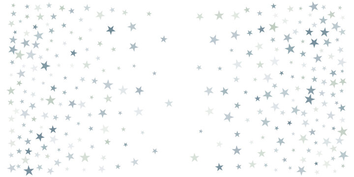 silver stars background, sparkling christmas lights confetti falling isolated on white. magic shining Flying stars glitter cosmic backdrop, sparkle vector border