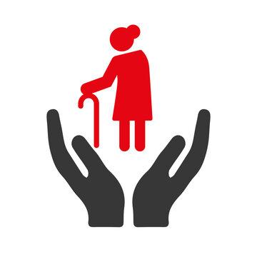 Caregiver vector illustration icon concept