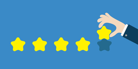 Five star rating selection system. Custumer review satisfaction review. Human hand finger put estimate. 5 Golden stars. Businessman hands pointing. Flat design. Blue background. Isolated.