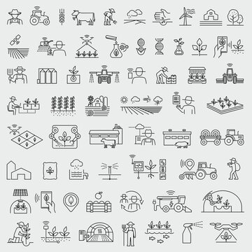 Smart farming and agriculture thin line vector icons set