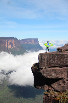 Pessoa no topo do Monte Roraima, Venezuela