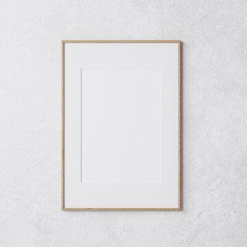 wooden vertical frame mockup on white wall, 3d render