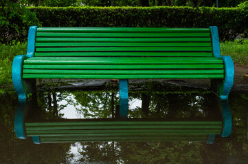 Green bench reflected in a puddle