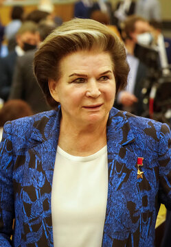 Valentina Tereshkova, a Soviet cosmonaut and the first woman in space, currently a member of Russia's lower house of parliament attends a session of the State Duma in Moscow
