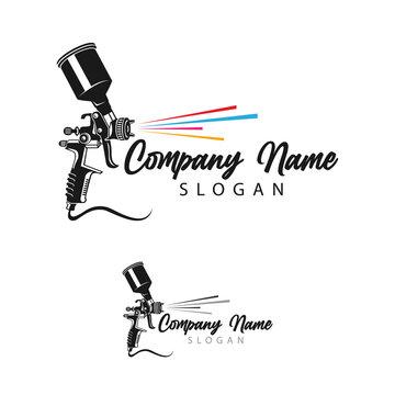Monochrome illustration of metal spray gun. Isolated on white background