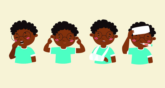 Vector set. the baby is ill. Cartoon boy african, afro, allergy, american, arm, black, boy, cartoon, catch, character, child, childhood, cold, cold and flu, cold temperature, coughing child, design, d