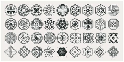 Obraz Set of hand drawn oriental elements. Black mandala / Asian traditional design.  - fototapety do salonu